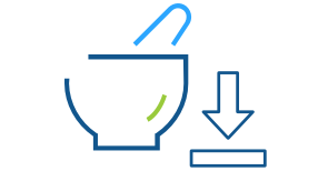 Blue line art illustration of a pharmaceutical mortar and pestle with an arrow pointing down representing Express Scripts Canada clinical product downloads
