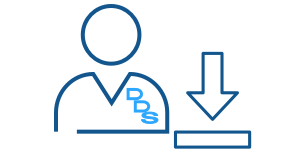 Blue line art illustration of a dentist with an arrow pointing down representing Express Scripts Canada downloads for dentists