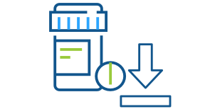Blue line art illustration of an Express Scripts Canada pill bottle with an arrow pointing down representing pharmacy downloads