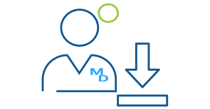 Blue line art illustration of a physician with an arrow pointing down representing Express Scripts Canada downloads for physicians